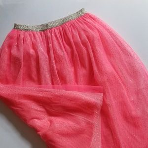 Ankle length pink and gold tulle tutu skirt